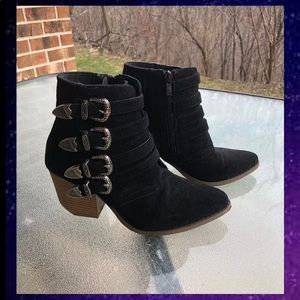 Boutique buckle ankle booties